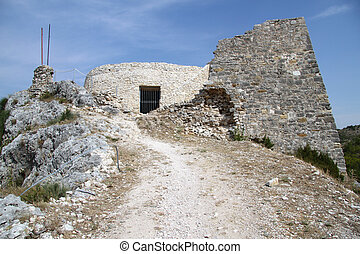 Ruins of fortress on the top of hill in Skradin, Croatia