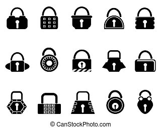 black lock icons set - isolated black lock icons set on...