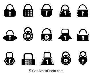 black lock icons set - isolated black lock icons set on...