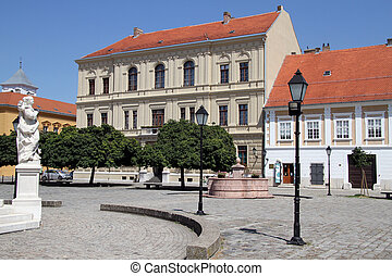 Facades in Osijek - Facades of buildings on the square in...