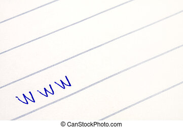 www written on white lined paper, blue ink color