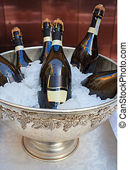 Wine bottles in cold ice bucket - Buffet, Wine bottles in...