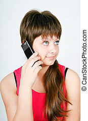 teen girl talking on a cell phone