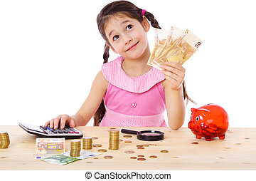 Girl at the table counts money - Dreaming girl at the table...