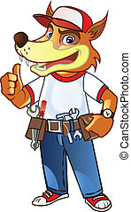 Handyman Wolf - Vector Cartoon of Handyman Wolf