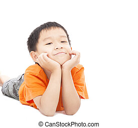 asian boy lying on floor isolated on white