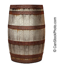 Old Barrel made of vintage weathered wood and rusty metal...