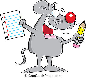 mouse holding a paper and pencil - Cartoon illustration of a...