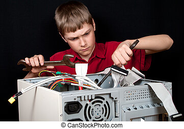 Repair your computer. Troubleshooting with a spanner.air, man, f
