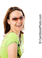 Portrait of the beautiful girl in sunglasses