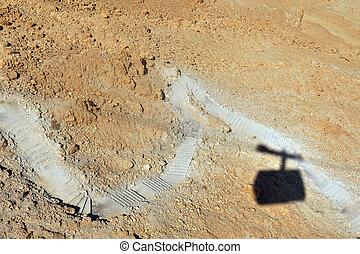 Masada Fortress Israel - The cable car to Masada above the...