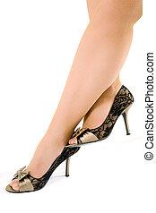femme, chaussures, isolé, noir, fond,  sexy, blanc, jambes
