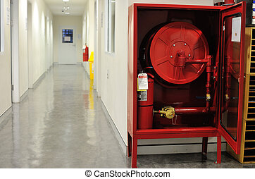 Fire hose cabinet installed in the building