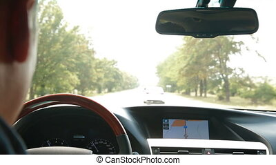 GPS Navigation - Automobile dashboard with integrated GPS...