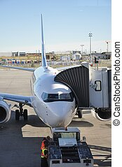 Airplane with Loading Dock - A close up of an airplane...