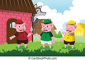 Wolf and three little pigs - A vector illustration of a wolf...