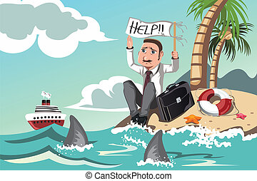 Businessman needs help - A vector illustration of a...