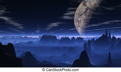 Flight over a blue planet. - The huge planet (moon) hangs...