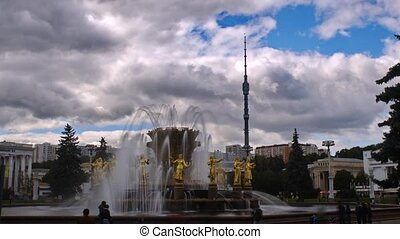 Peoples Friendship Fountain, Moscow, timelapse