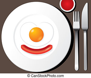 Fried egg, sausage on white plate