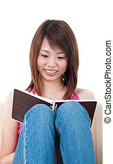 flicka, läsning, Asiat