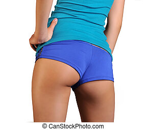 Sexy ass blue shorts underwear - Young tanned woman with...