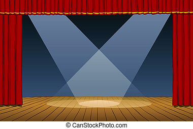 Theater stage with spotlights beams vector illustration