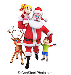 Santa claus with gift and kids - 3d art illustration of...