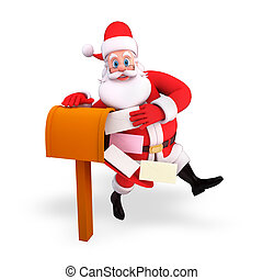 santa claus with letter box - 3d art illustration of santa...