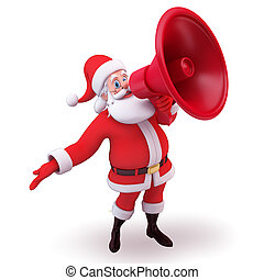 santa having loud speaker - 3d art illustration of santa...