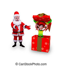 santa and elves with gift box - 3d art illustration of santa...