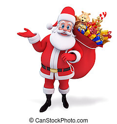santa carrying gift bag on his back - 3d art illustration of...