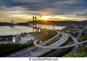 Tsing Ma Bridge sunset