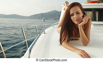 Bikini Woman on Luxury Yacht