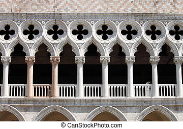 Arches of Doge Palace in Venice, Italy