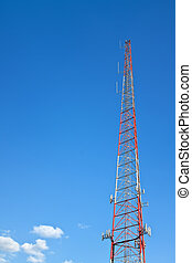 Communications Tower - Modern communications tower against...