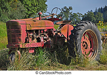 Old farm tractor - old farm tractor sitting in pasture