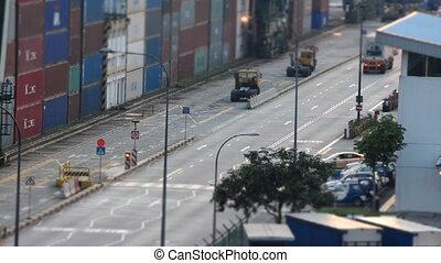 timelaspe of a port - a very busy street at the south east...