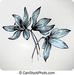 Bouquet of spring Scilla, hand-drawing. Vector illustration