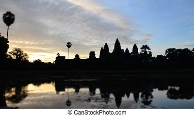 angkor wat - timelaspe of sunrise over angkor wat