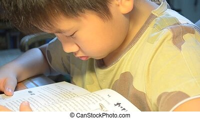 a chinese boy reading his story book