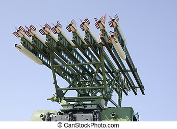 Rockets on antiaircraft. A rocket complex against the blue...