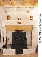 tradizionale, pietra, caminetto