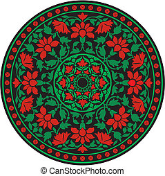 Indian traditional pattern in color - flower mandala