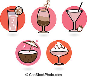 Retro drinks set isolated on white ( pink and red )