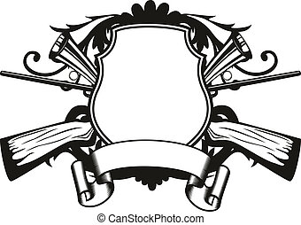 frame hunting theme - Vector image board crossed guns and...