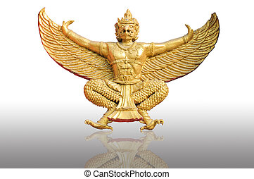 Golden garuda statue isolated white background