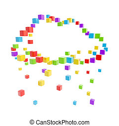 Cloud technology computing icon made of colorful glossy...