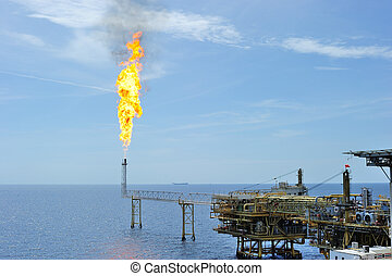 Burning gas at an offshore platform