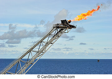 Flare boom nozzle - Flare boom at offshore oil platform in...